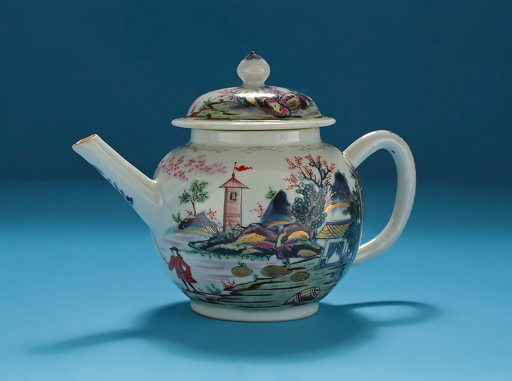 London Painted Chinese Porcelain Teapot And Cover
