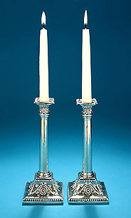 Pair Silver Neoclassical Tapersticks, c1770