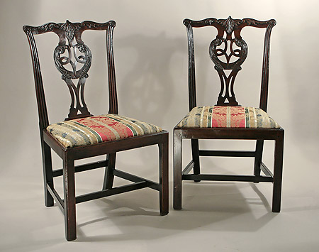 Well Carved Pair of Early George III Acanthus-Carved Side Chairs