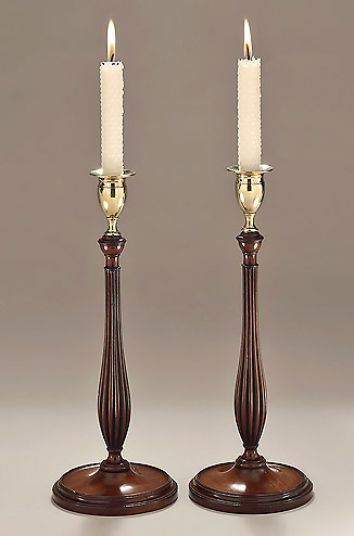 Elegant Pair of George III Carved Mahogany & Brass Candlesticks, c17909-1800