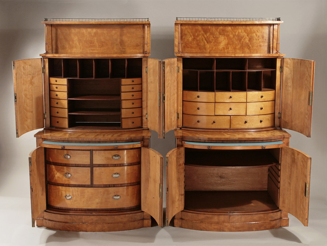 Pair George Iii Satinwood Bow Fronted Collectors Cabinets