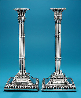Pair George III Silver Column Cluster Candlesticks, Carolina Interest, Landgrave