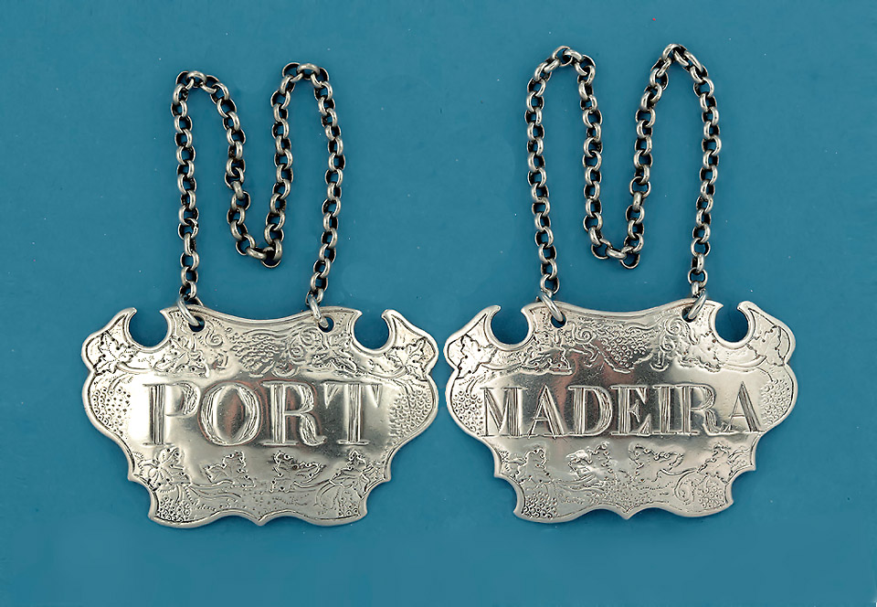 Pair George II Silver Escutcheon Bottle Tickets, Sandilands Drinkwater, c1745-50