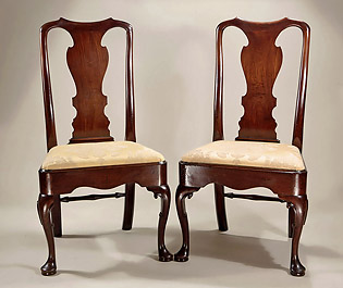 Pair George II Cuban Mahogany Side Chairs, England, c1725-35