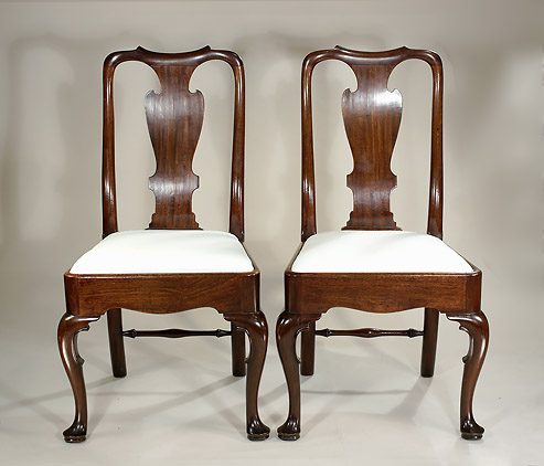 Pair George I / George I Cuban (Santo Domingan )Mahogany Side Chairs,