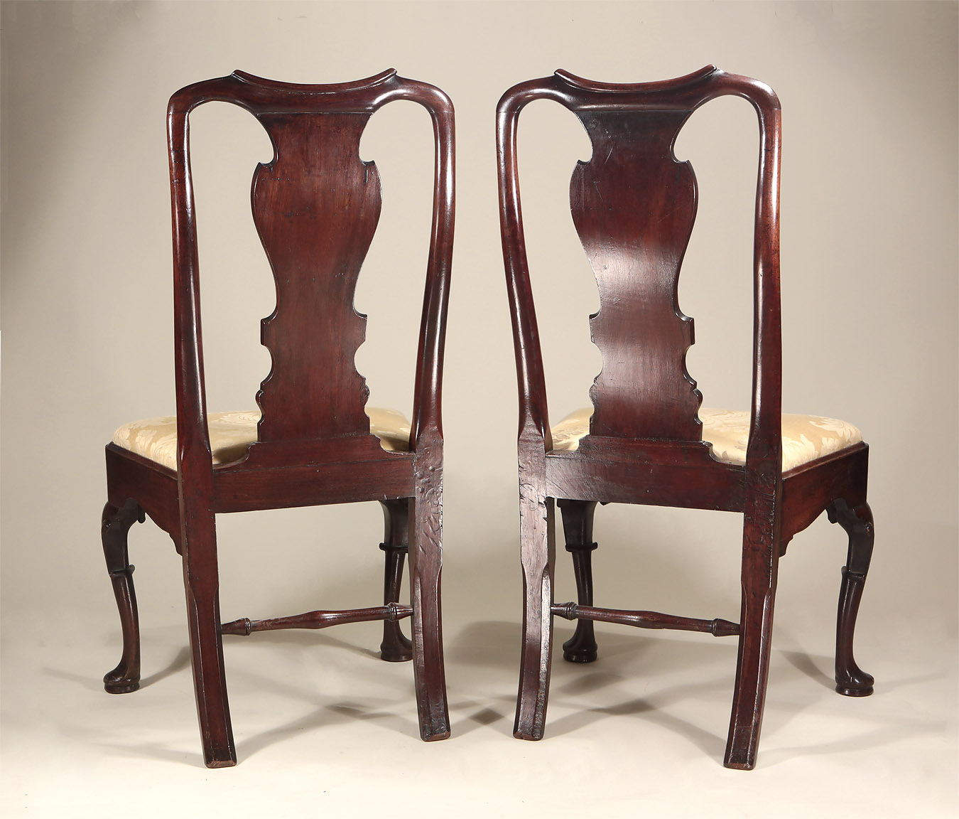 Pair George I / II Cuban Mahogany Side Chairs, c1725-30, showing the back side