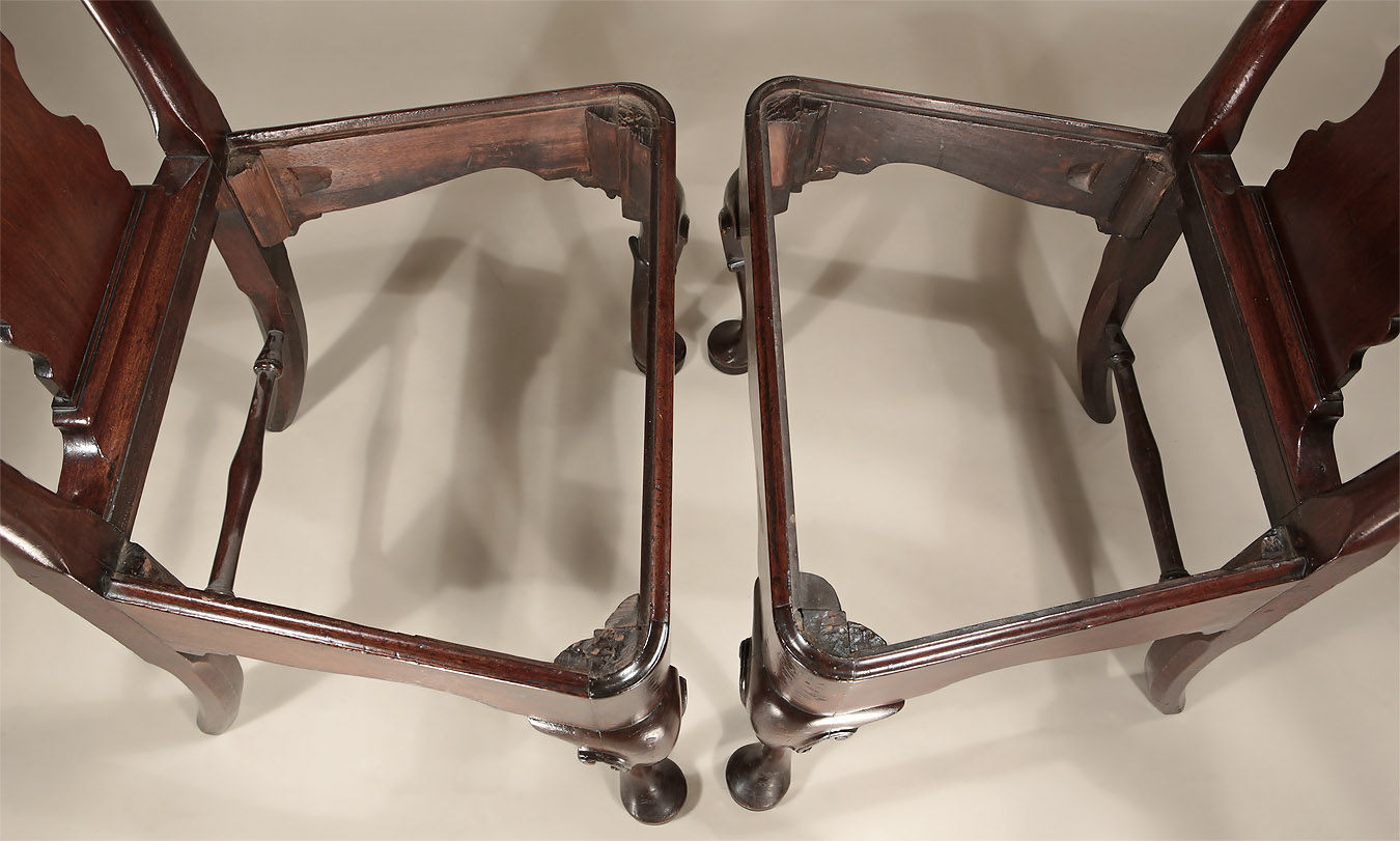 Pair George I / II Cuban Mahogany Side Chairs, c1725, showing the seat interior