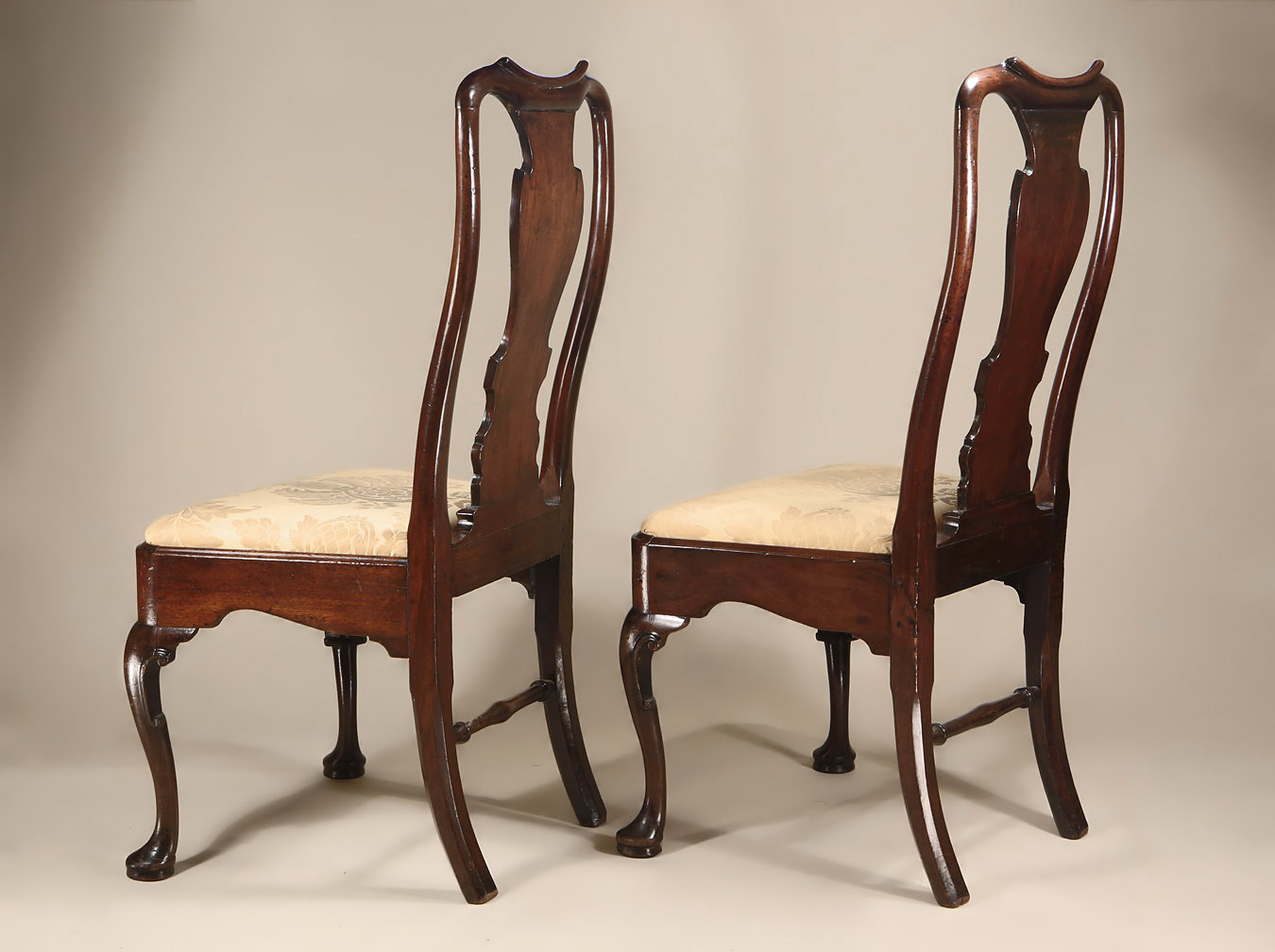 Pair George I / II Cuban Mahogany Side Chairs, Oblique Back View