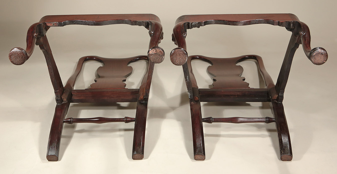 Pair George I / II Cuban Mahogany Side Chairs, c1725, showing the verso