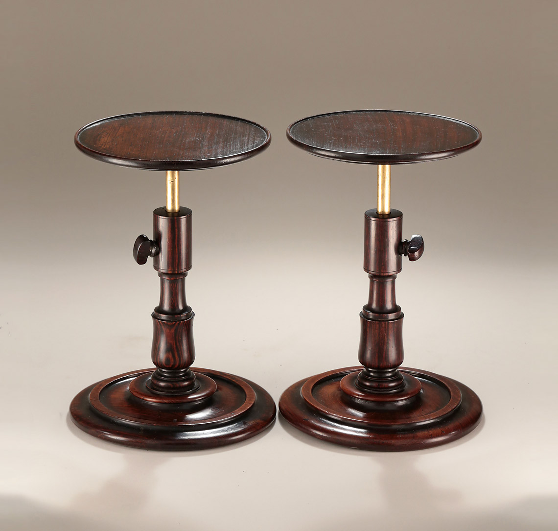 Rare Pair Georgian Turned Goncalo Alves Adjustable Candle-Stands