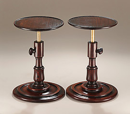 Rare Pair Georgian Goncalo Alves Adjustable Candle-Stands
