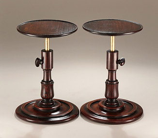 Rare Pair of Georgian Turned Gonçalo Alves Adjustable Candle-Stands, early 19c