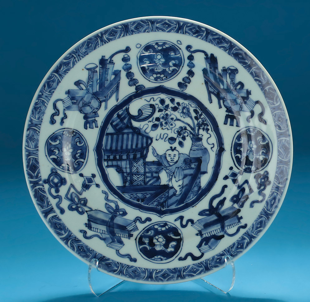 Chinese Export Blue & White Kangxi Plate, Dancing Boy on Veranda