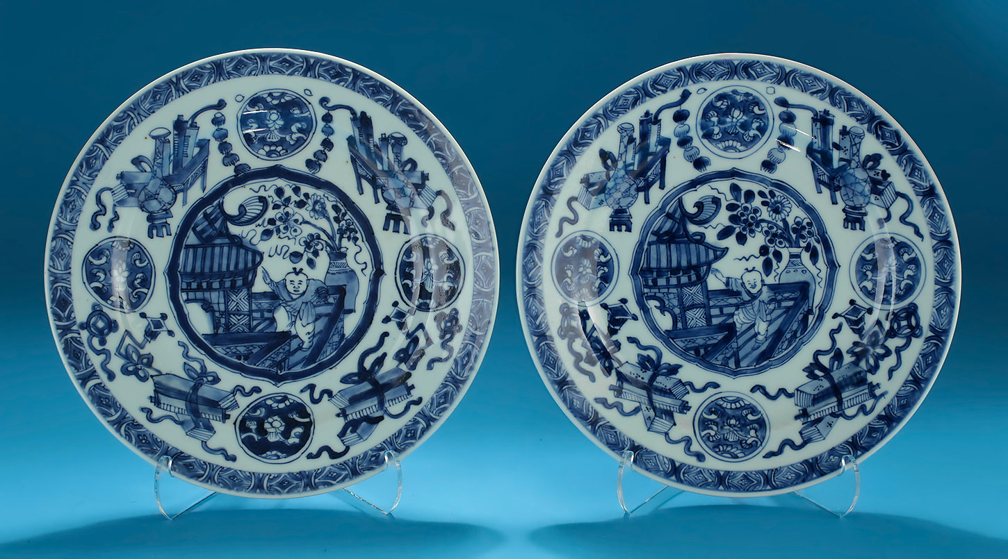 "Pair of Kangxi Blue and White Porcelain Plates, decorated with a Dancing Boy on a veranda, 8.75"" Diameter"