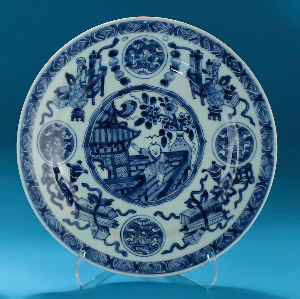 Pair of Kangxi Blue & White Porcelain Plates, c1600, Dancing Boy on a Veranda, Right Example