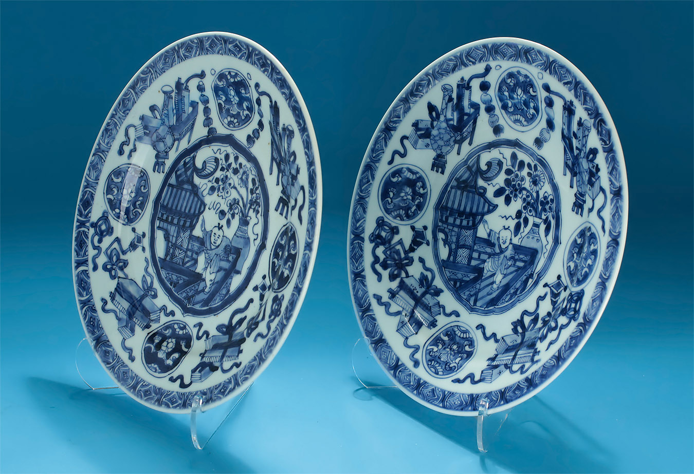 Pair Kangxi Blue & White Dancing Boy Plates, Oblique View 1