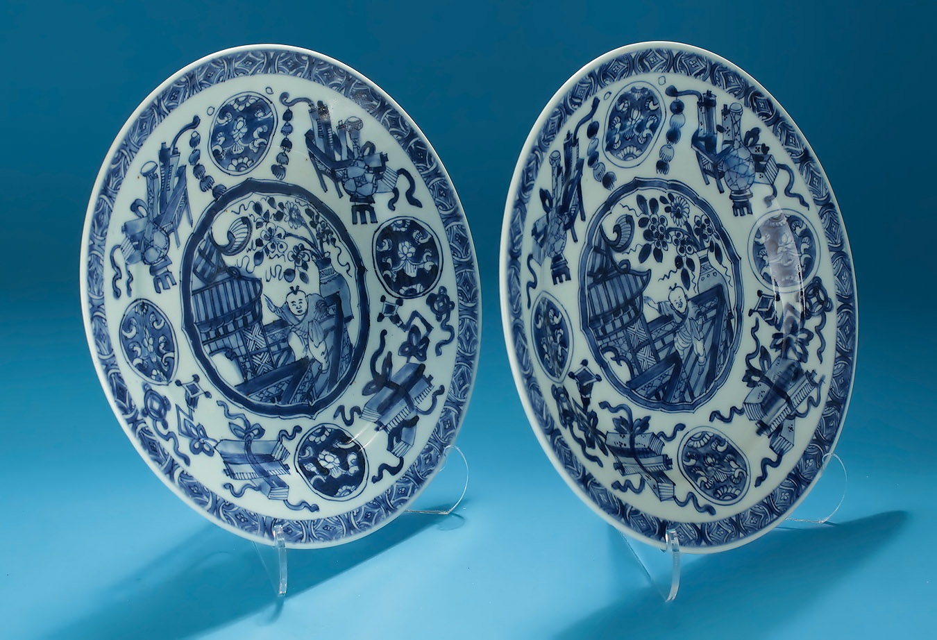 Pair Kangxi Blue & White Dancing Boy Plates, Oblique View 2