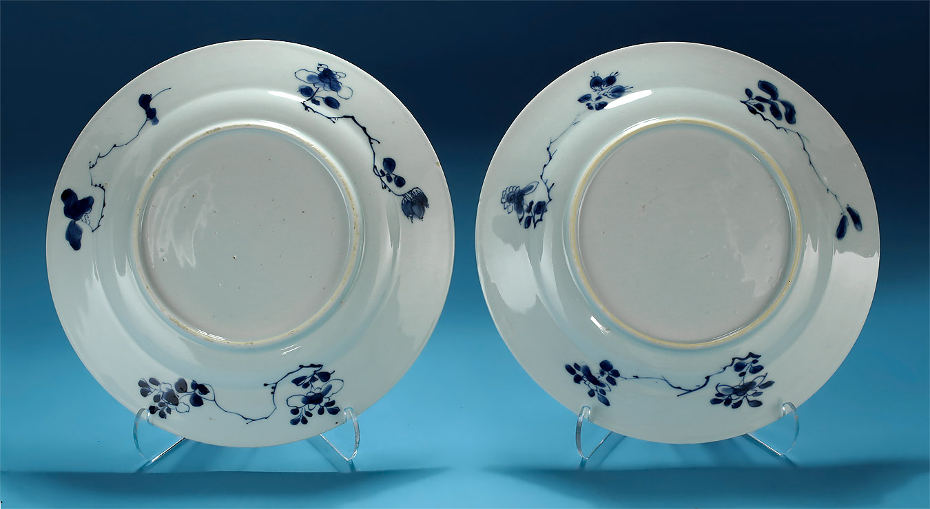 Pair Kangxi Blue & White Porcelain Plates, Dancing Boy, verso