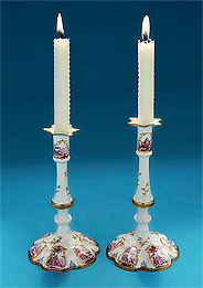 Rare & Fine Pair South Staffordshire Enamel on Copper Tapersticks, England, c1760-65