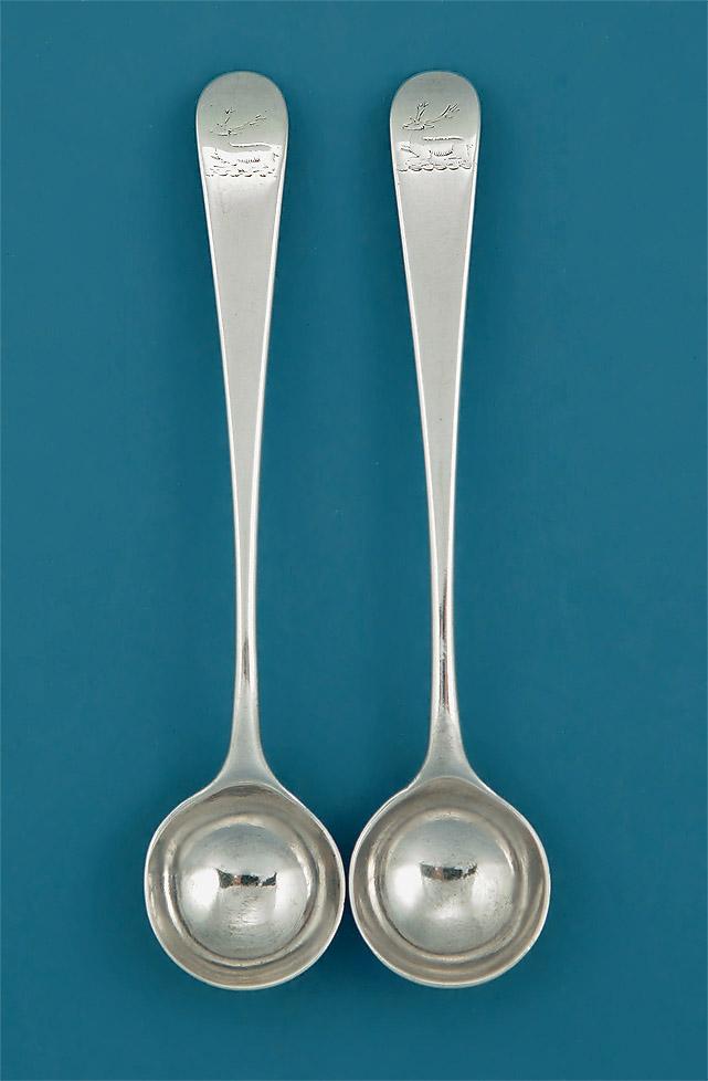 Pair George Iii Silver Salt Spoons Hester Bateman 1781