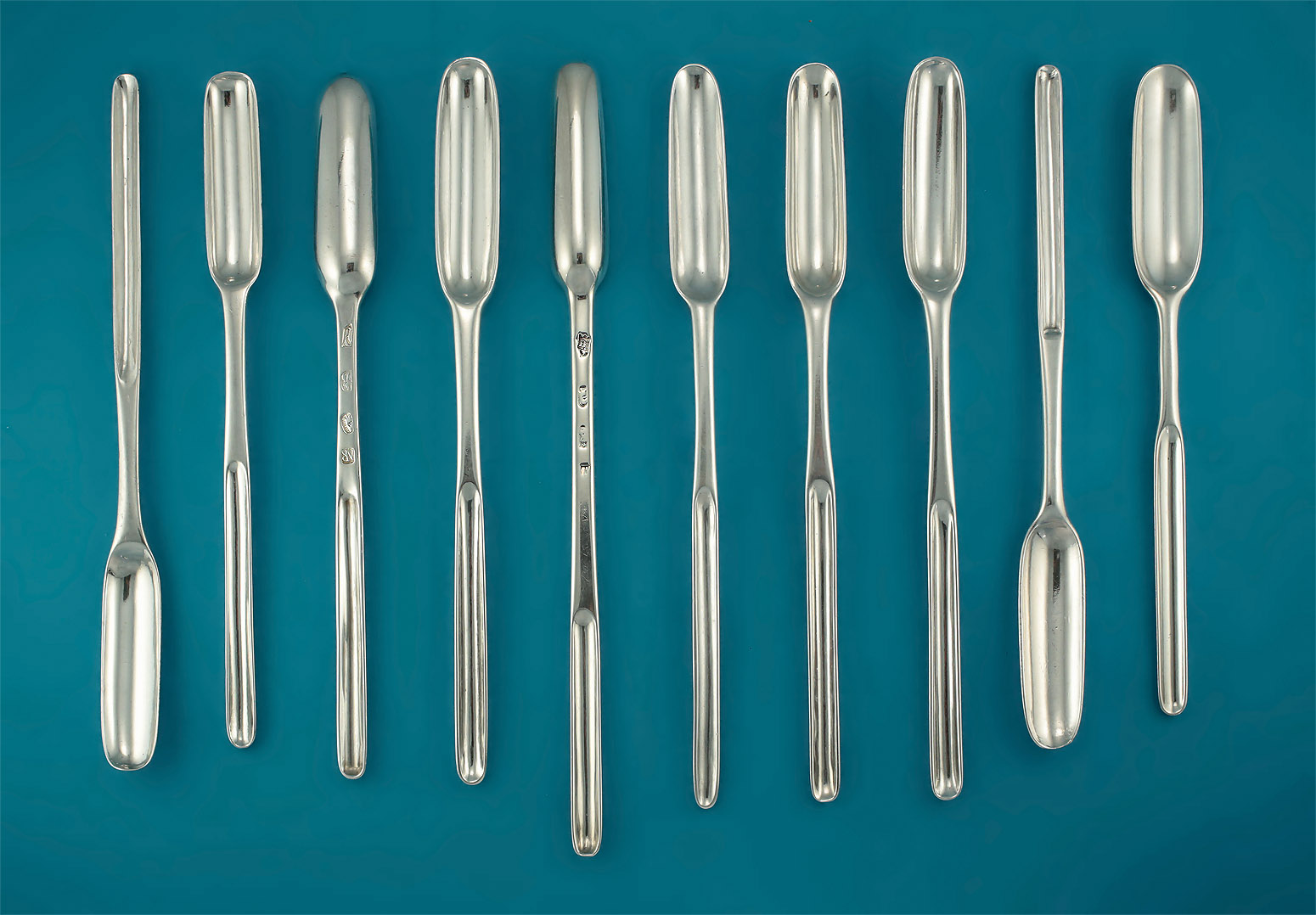 Collection of Queen Anne / George I Britannia Standard Silver Marrow Scoops, London, 1702-25