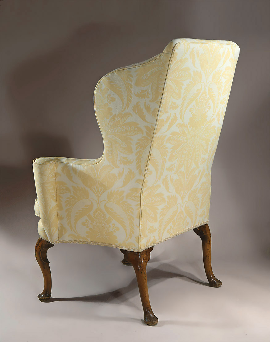 Queen Anne George I Upholstered Walnut Wing Armchair