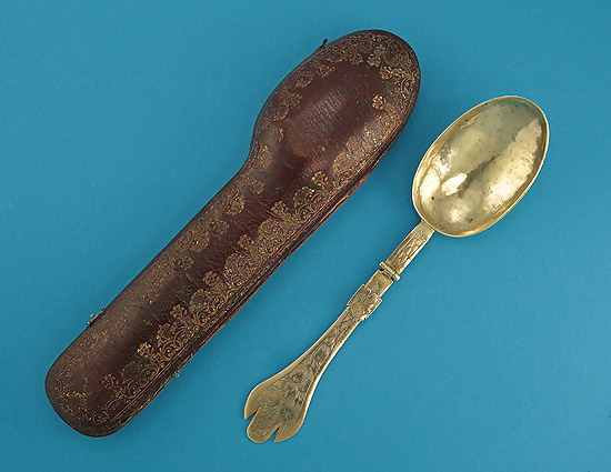 Rare 17th Century Brass Traveling Folding Spoon with Leather Case, Enland, c1690