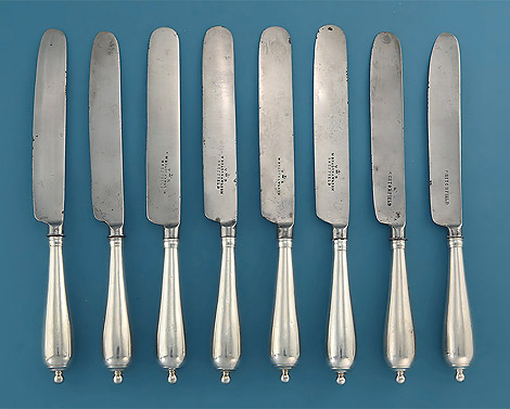 Rare Set 8 Late 17th Century Silver Canon-Handled Cheese (Dessert) Knives