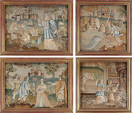 Fine Set of 4 17th Century Silkwork Panels Depicting the Story of Tobias