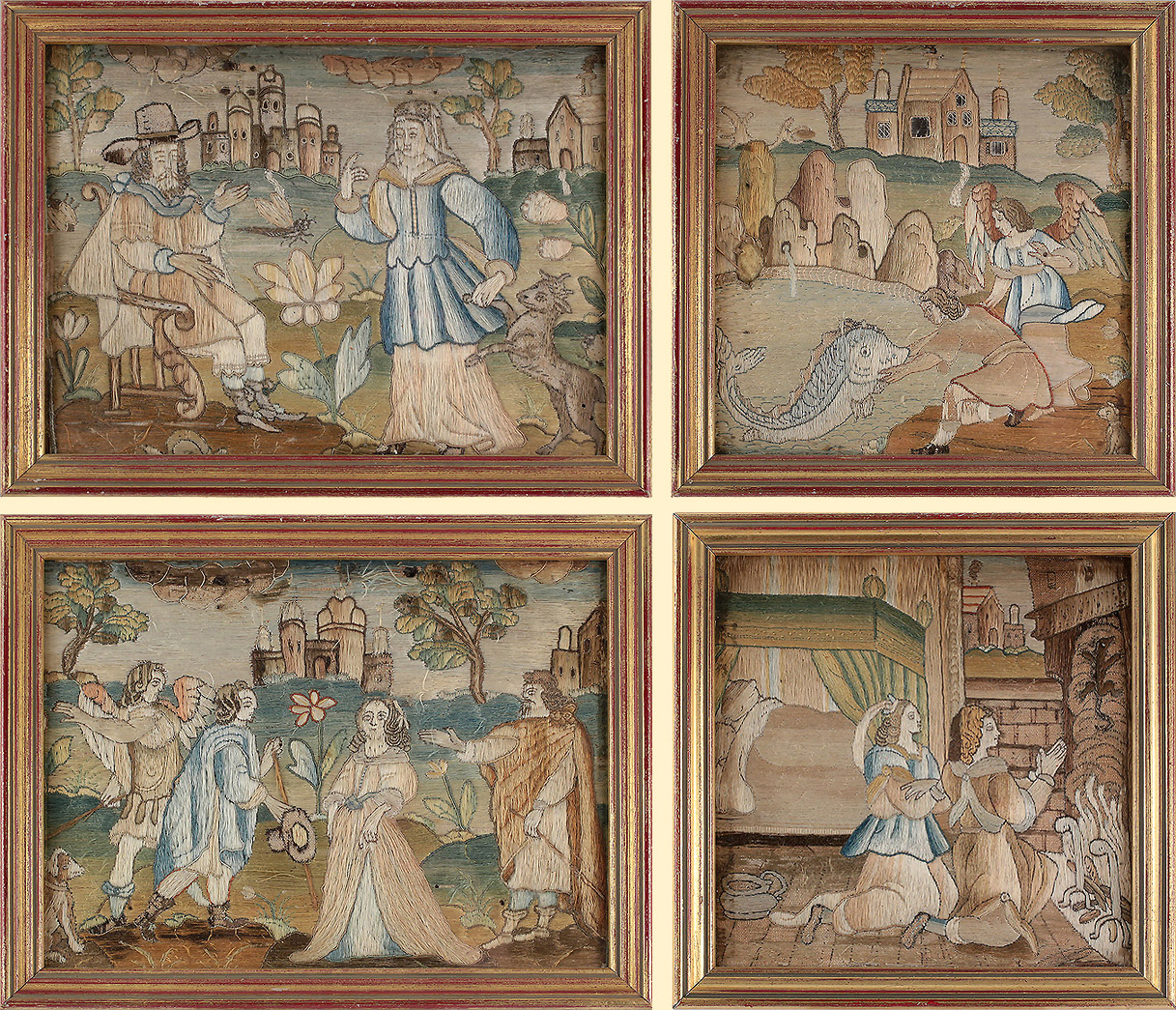 Set of 4 17th century silkwork panels illustrating Tobias, from the Book of Tobit