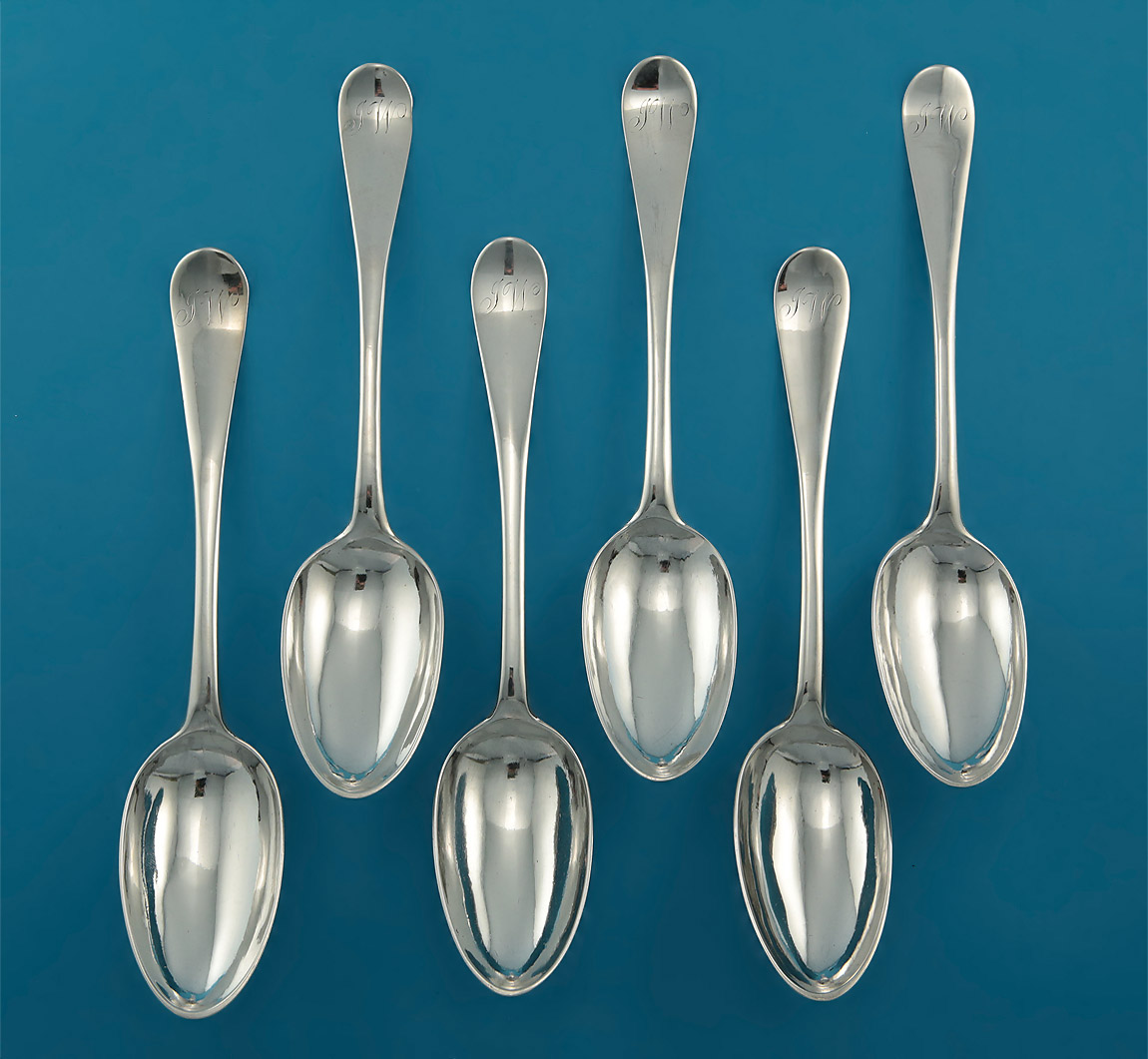Set of 6 George III Scottish Hanoverian Silver TABLE Spoons, IT over FH (Howden & Taylor), Edinburgh, 1782