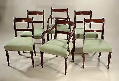 Set 6 Late Georgian Inlaid Mahogany Dining Chairs, England, c1815-20