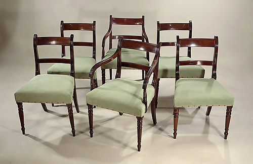 Set 6 Late Georgian Mahogany Dining Chairs, England, c1820