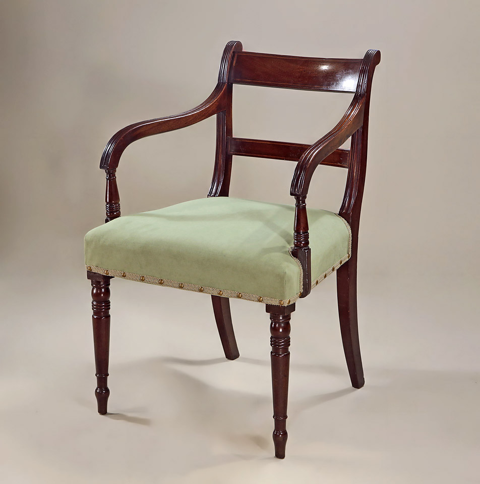 Set 6 Late Georgian Inlaid Mahogany Dining Chairs, Armchair Detail