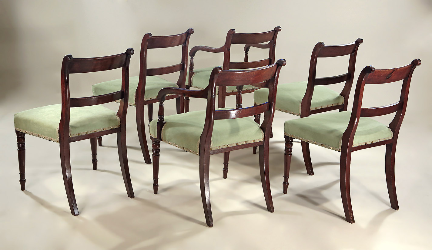 Set of 6 Late Georgian Inlaid Mahogany Sidechairs, reverse oblique