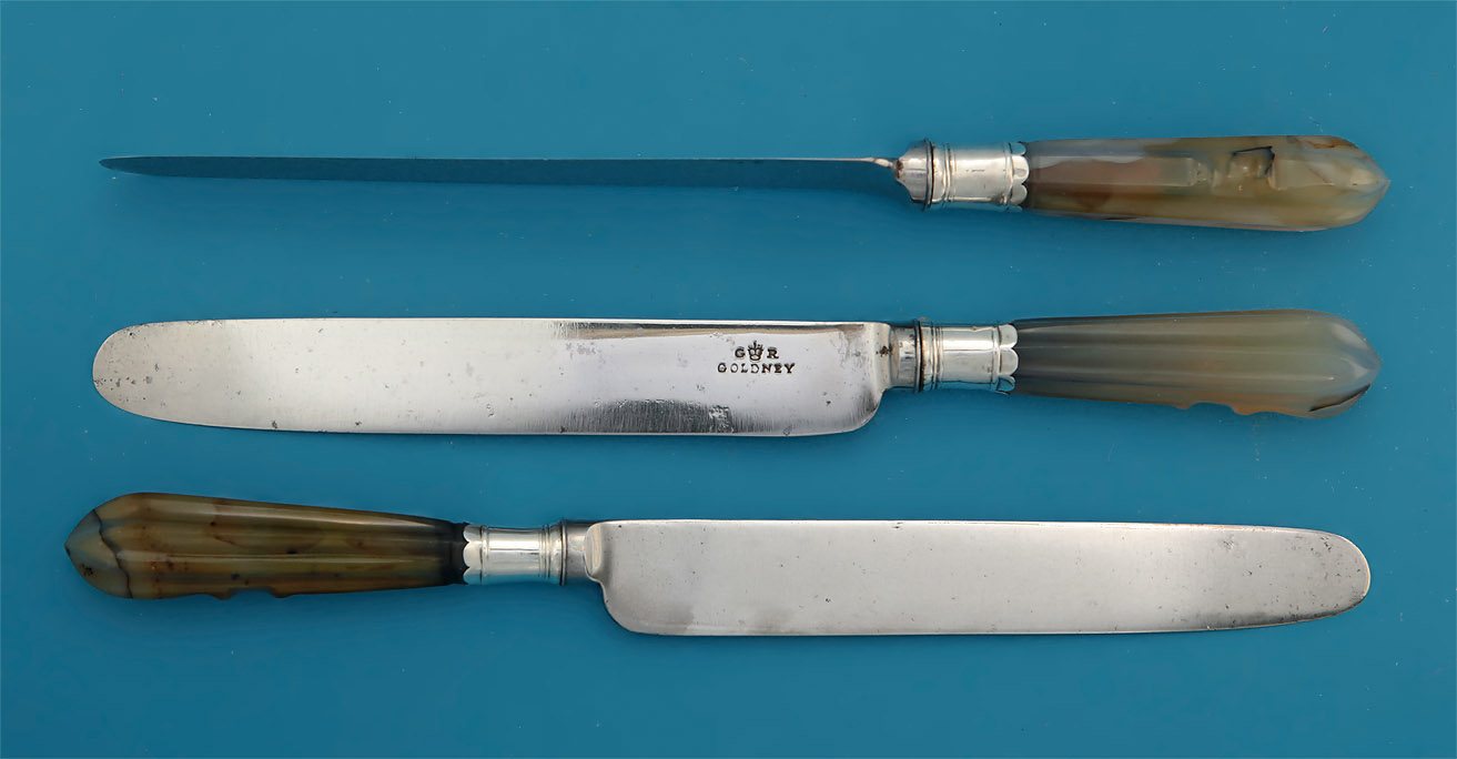 Set of 8 Georgian Agate-Handled Dinner Knives, c1750-60, the blades, GOLDNEY, c1820-30
