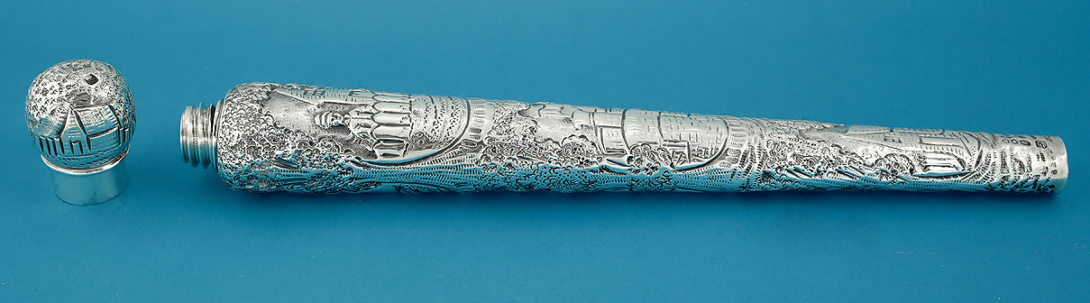Victorian Elaborately Chased Silver Scent Flask, Rosenthal & Jacob, London, 1890