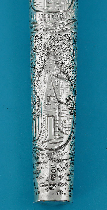 Victorian Elaborately Chased Silver Scent Flask, Rosenthal & Jacob, London, 1890, lower detail