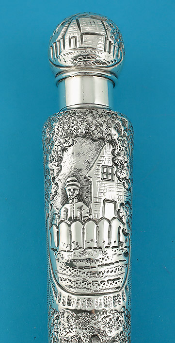 Victorian Elaborately Chased Silver Scent Flask, Rosenthal & Jacob, London, 1890, upper detail