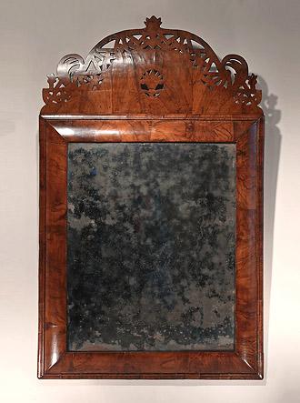 Rare William & Mary Walnut Crested Cushion MIrror, England, c1690