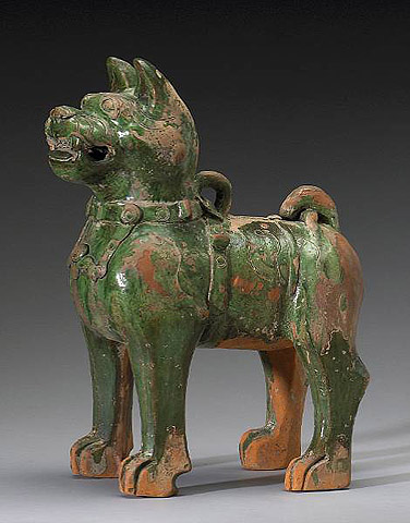Han Dynasty Green-Glazed Dog, 206 BC-220 AD